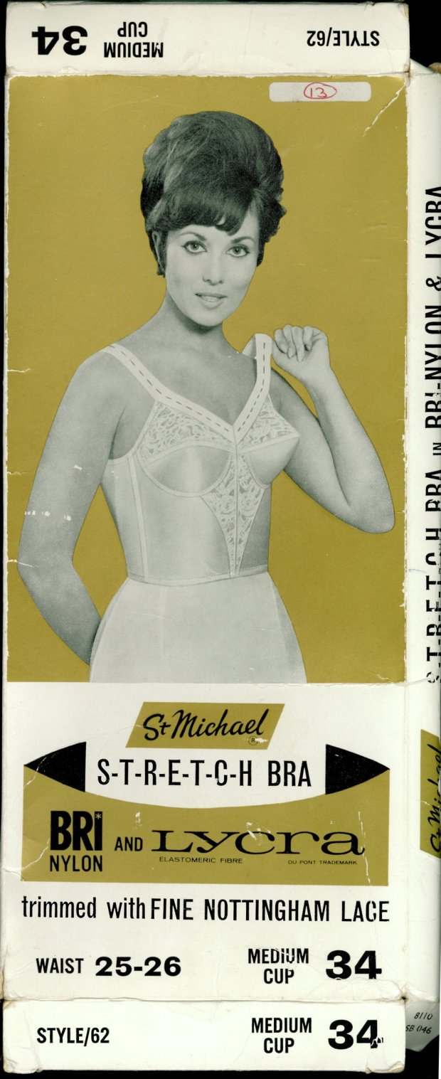 Packaging for Cream and White Bri Nylon Brassiere with Nottingham Lace Detail © Marks & Spencer Company Archive